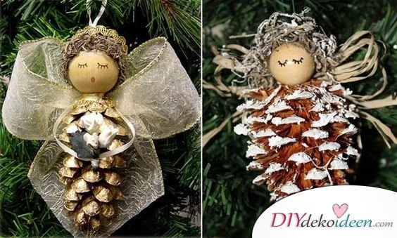 Making Christmas decorations with pine cones - DIY craft ideas - Pine cones making angels