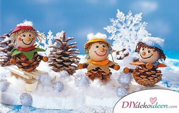 Weihnachtsdeko basteln mit Tannenzapfen – DIY Bastelideen - Wichtel basteln
