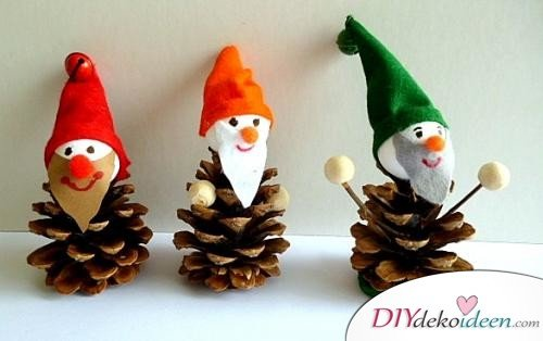 Weihnachtsdeko basteln mit Tannenzapfen – DIY Bastelideen - Wichtelmännchen basteln