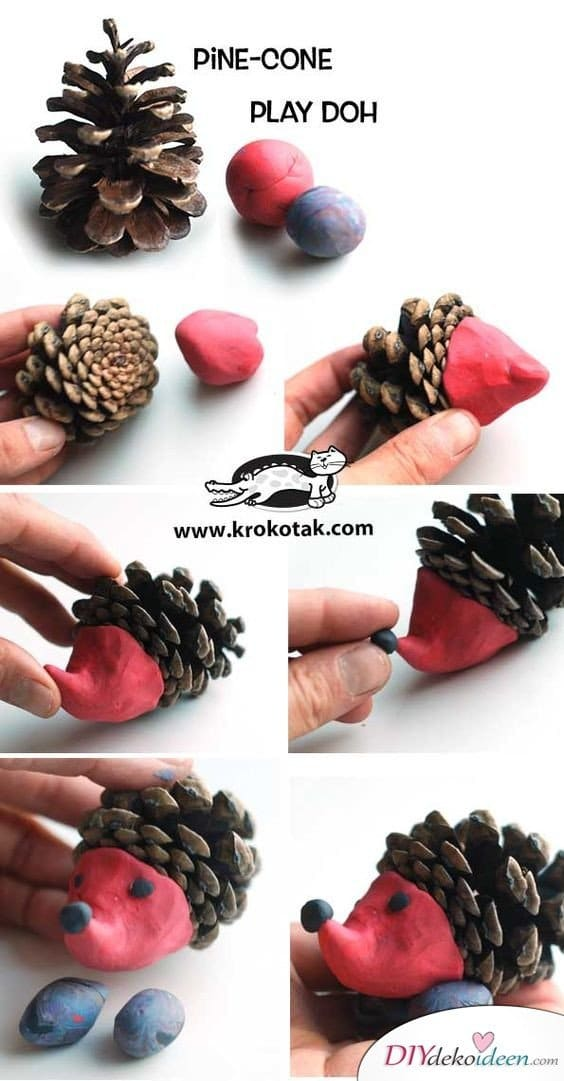 Making Christmas decorations with pine cones - DIY craft ideas - making pine cones hedgehogs