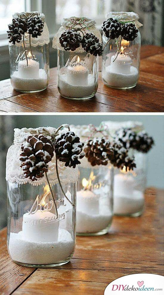 Christmas Decorations with Pine Cones - DIY Craft Ideas - Pinecone Mason Jar Decoration