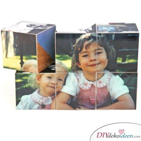 Bastelideen für DIY Weihnachtsgeschenke - Weihnachten Geschenke basteln - DIY Foto Puzzle - Foto Bauklötze