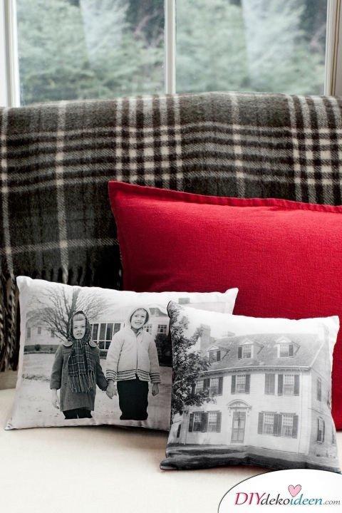 DIY Weihnachtsgeschenke - 15 Ideen und Anleitungen - Fotokissen - Geschenke basteln