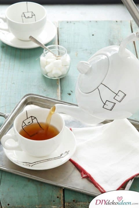 DIY Weihnachtsgeschenke - 15 Ideen und Anleitungen - Teeservice - Geschenke basteln
