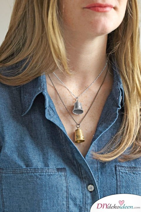 DIY Weihnachtsgeschenke - 15 Ideen und Anleitungen - Fingerhut-Halskette - Geschenke basteln