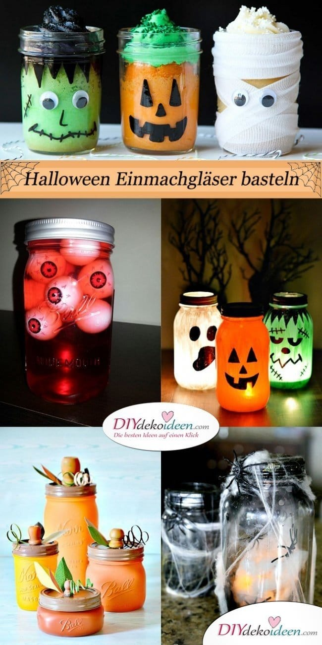 Einfache DIY Bastelideen fürs Gruselfest - Halloween Einmachgläser basteln