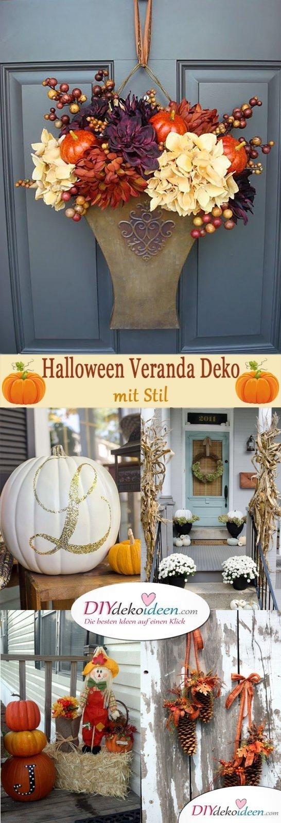 DIY Dekoideen - Halloween Veranda Deko mit Stil