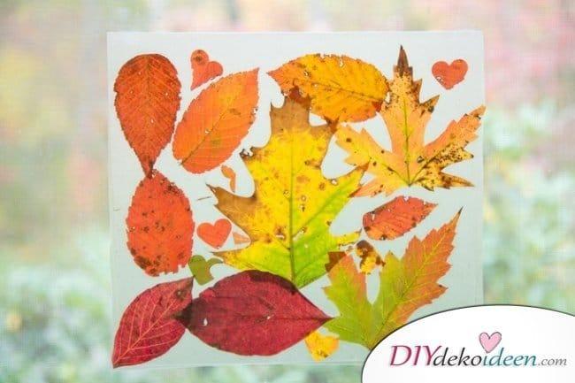 Herbstbasteln für Kinder - Leichte DIY Bastelideen - Fensterbilder basteln