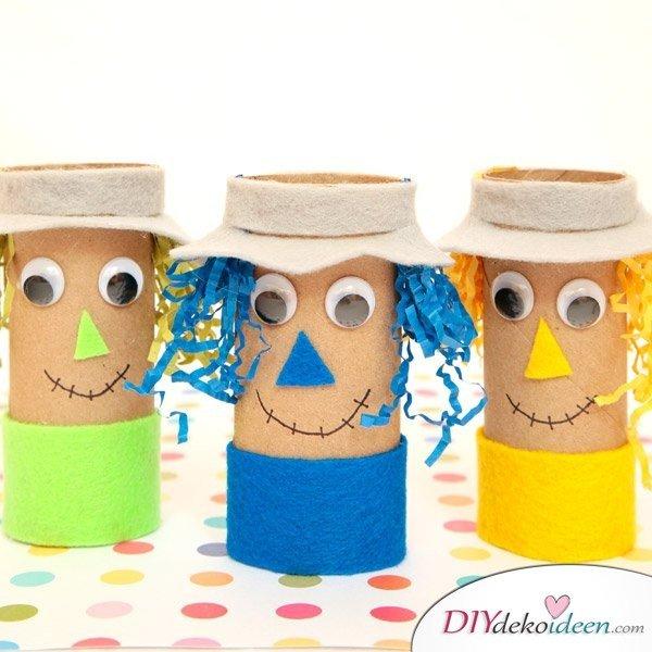 Herbstbasteln für Kinder - Leichte DIY Bastelideen - basteln mit Klopapierrollen