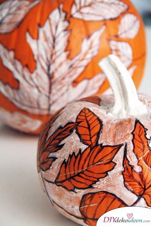 Herbstbasteln für Kinder - Leichte DIY Bastelideen - basteln mit Kürbissen