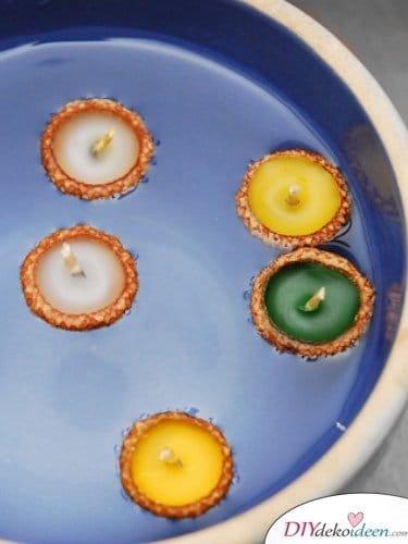 15+ DIY Ideen für Herbstdeko basteln mit Eicheln - schwimmende Kerzen basteln