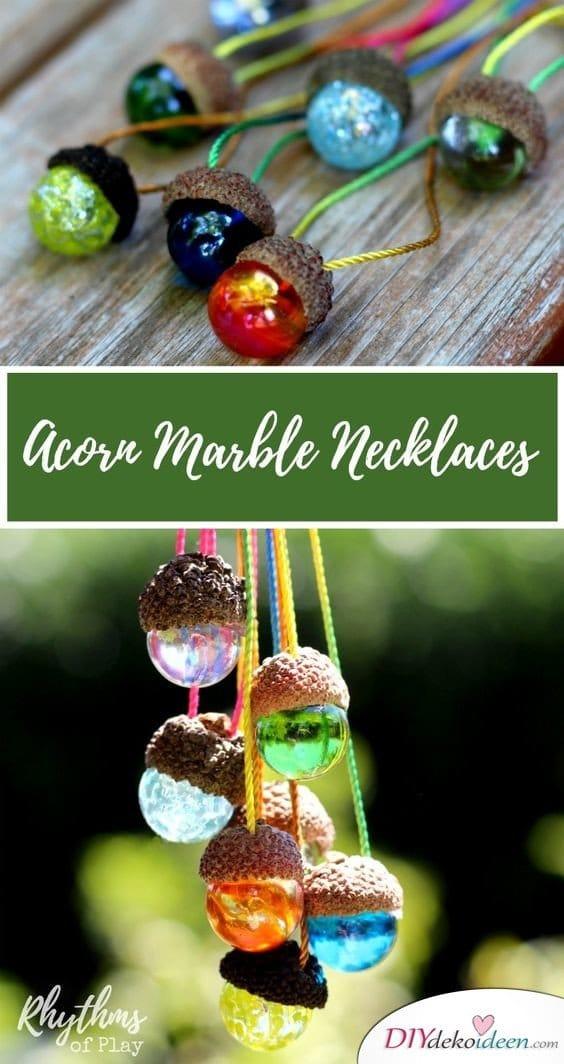 15+ DIY Ideen für Herbstdeko basteln mit Eicheln - DIY Halskette