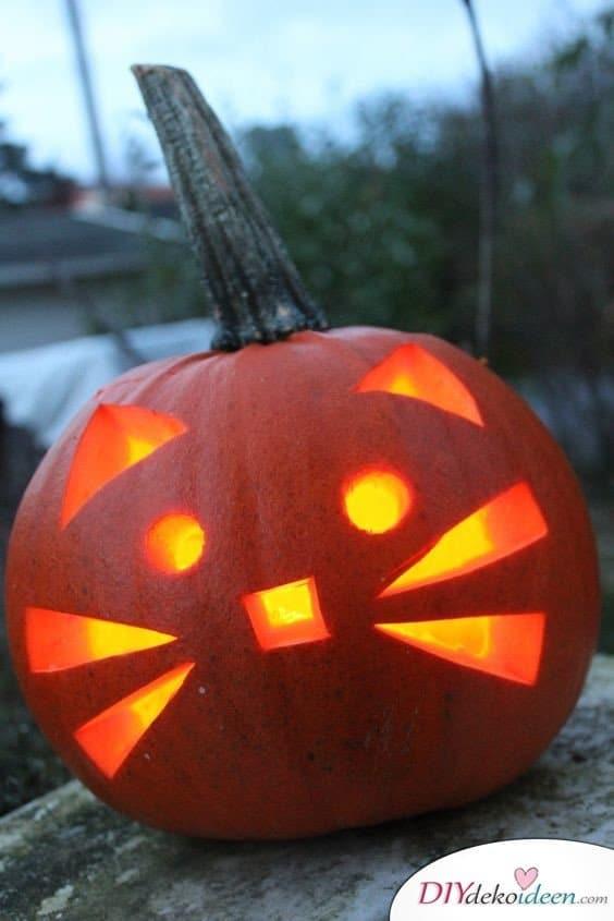 Kürbis schnitzen - Kürbislaternen schnitzen - Ideen zu Halloween - Kätzchen