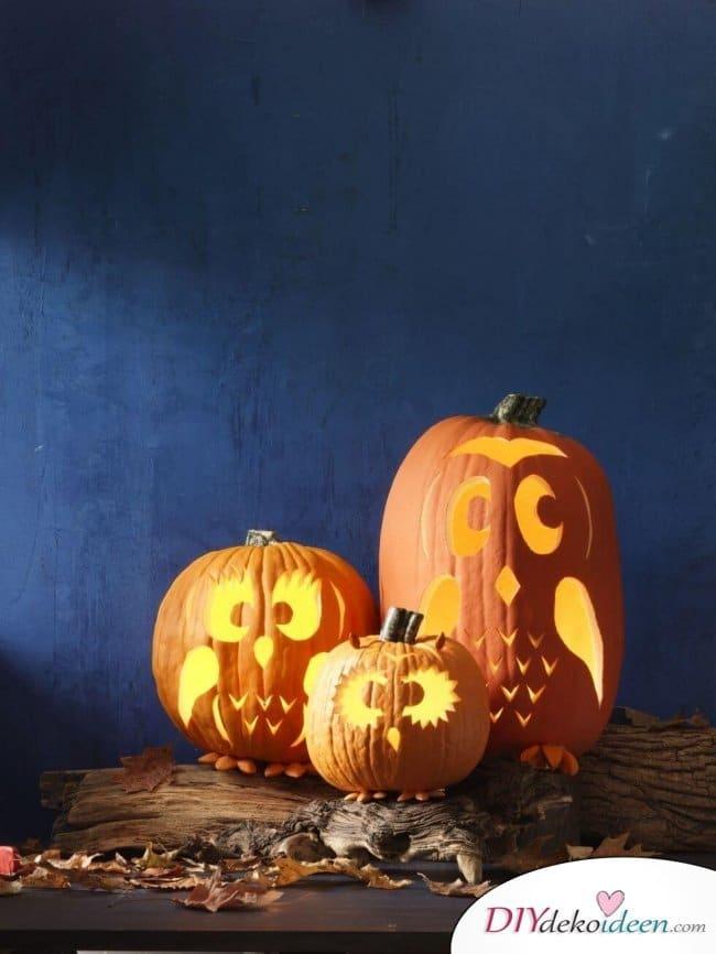 Kürbis schnitzen zu Halloween - Kürbislaternen Ideen zum selber machen