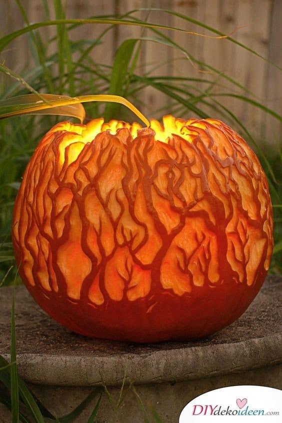 Halloween Kürbis schnitzen - Ideen für Halloween Kürbislaternen