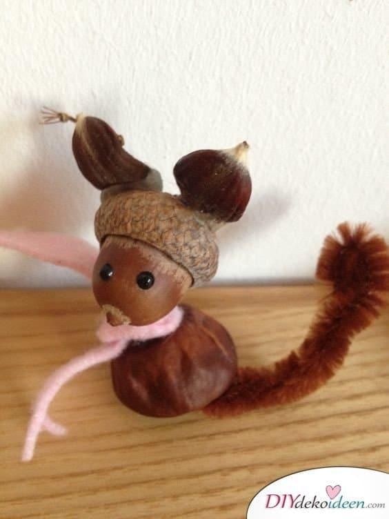 Kastanienmännchen - Herbstdeko basteln mit Kastanien - Fuchs