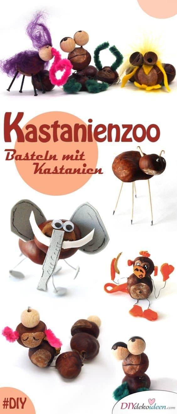 Kastanienmännchen - Herbstdeko basteln mit Kastanien - Zootiere