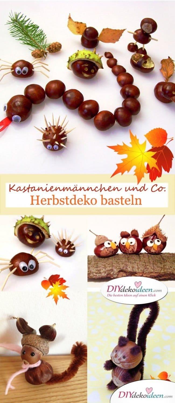 Kastanienmännchen und Co. - Herbstdeko basteln mit Kastanien und Nüssen
