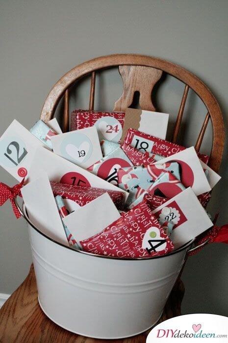 Adventskalender selber basteln - 15 Ideen - Adventskalender Bastelidee - Weihnachten 2017 - kleine Geschenke basteln