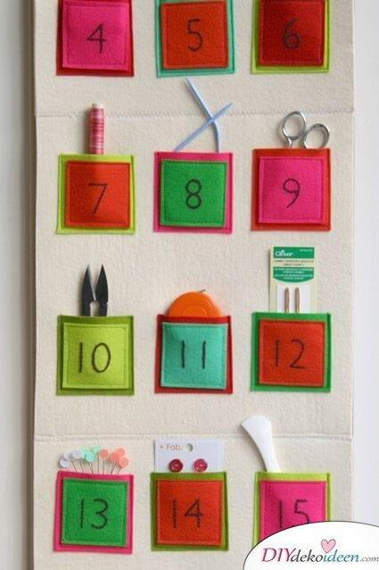 Adventskalender selber basteln - 15 Ideen - Adventskalender Bastelidee - Weihnachten 2017 - basteln mit Filz