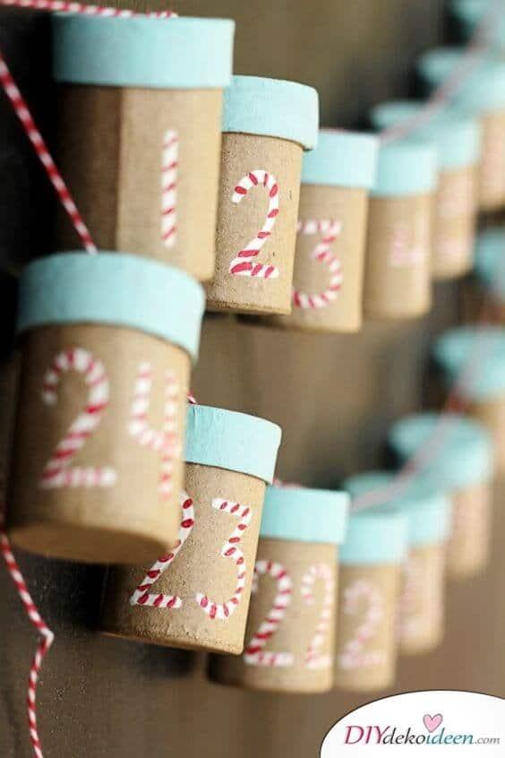 Adventskalender selber basteln - 15 Ideen - Weihnachten 2017 - Bastelideen Advent - Weihnachtsbasteln