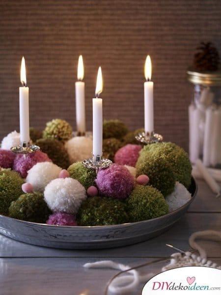 Adventskranz basteln - Adventszeit Bastelidee