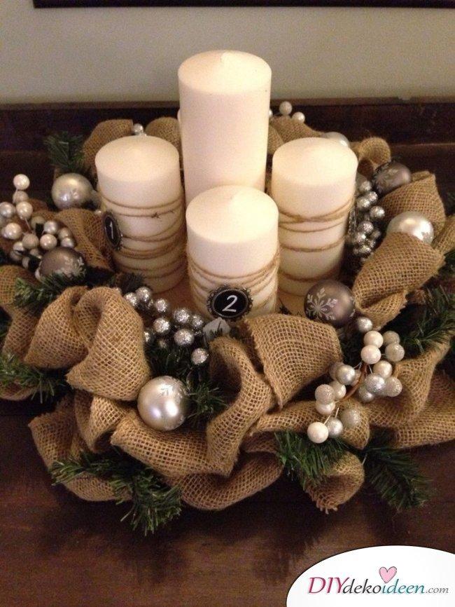 Adventskranz basteln - Weihnachtsdeko selber machen