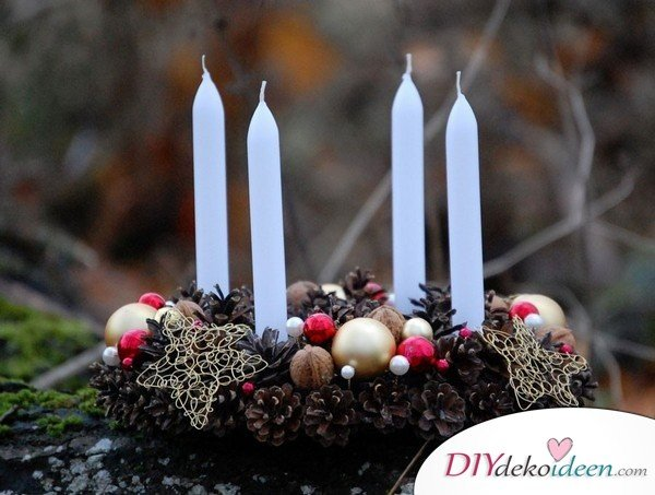 Adventskranz basteln - Weihnachtsdekoration selber basteln
