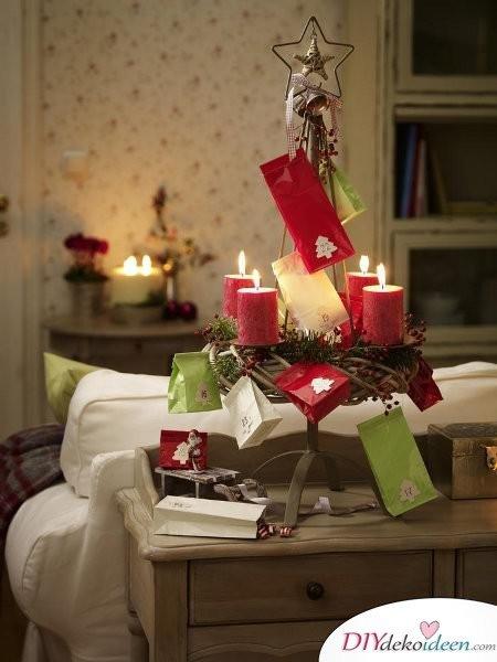 Adventskranz basteln - Weihnachten Dekoration basteln