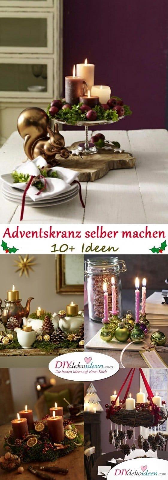 Adventskranz selber machen - Elegante, klassische und romantische Ideen
