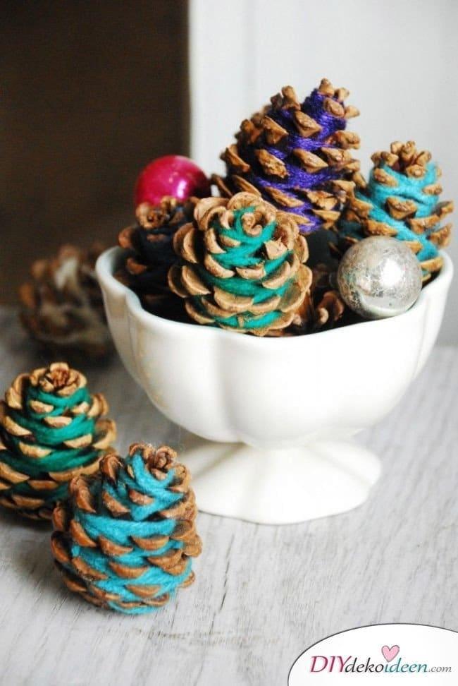 Basteln mit Tannenzapfen - 15 Ideen für Kinder - DIY Bastelidee Winter Adventszeit