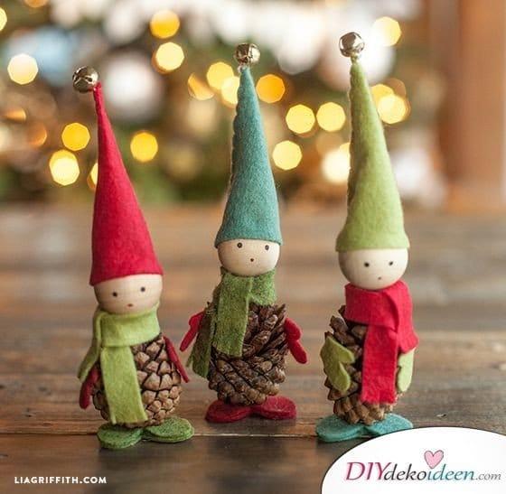 Basteln mit Tannenzapfen - 15 Ideen für Kinder - DIY Bastelidee Weihnachtsbasteln