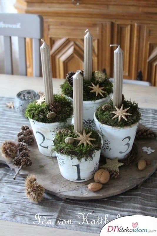 Adventskranz basteln - 15 Bastelideen - Weihnachten Tischdeko Ideen