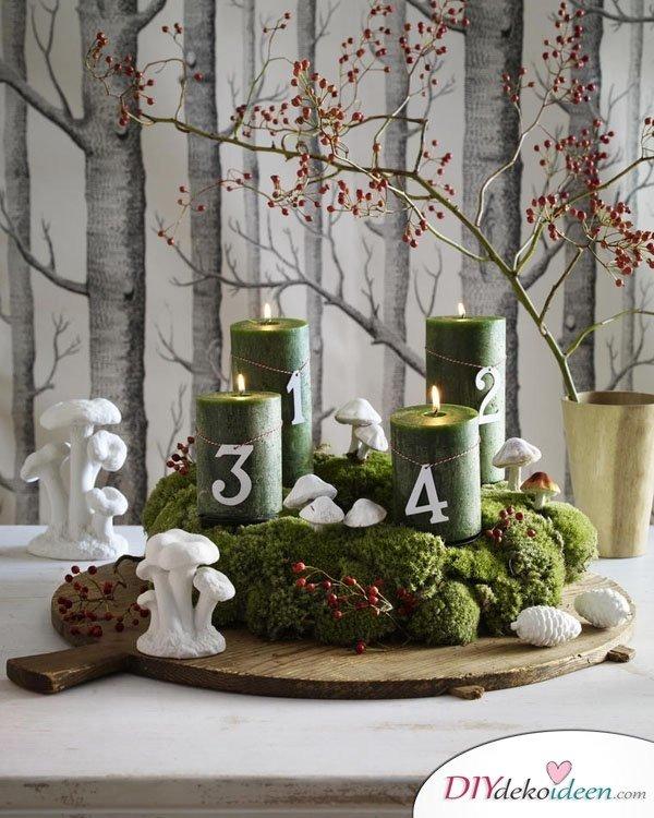 Adventskranz basteln - 15 Bastelideen - Weihnachten Tischdeko basteln