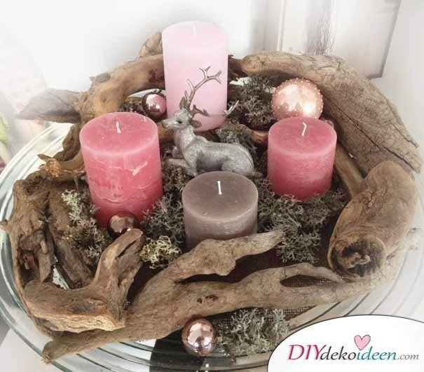 bezaubernde diy bastelideen adventskranz basteln in der vorweihnachtszeit. Black Bedroom Furniture Sets. Home Design Ideas
