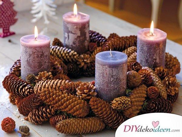 Adventskranz basteln - 15 Bastelideen - Weihnachten dekorieren