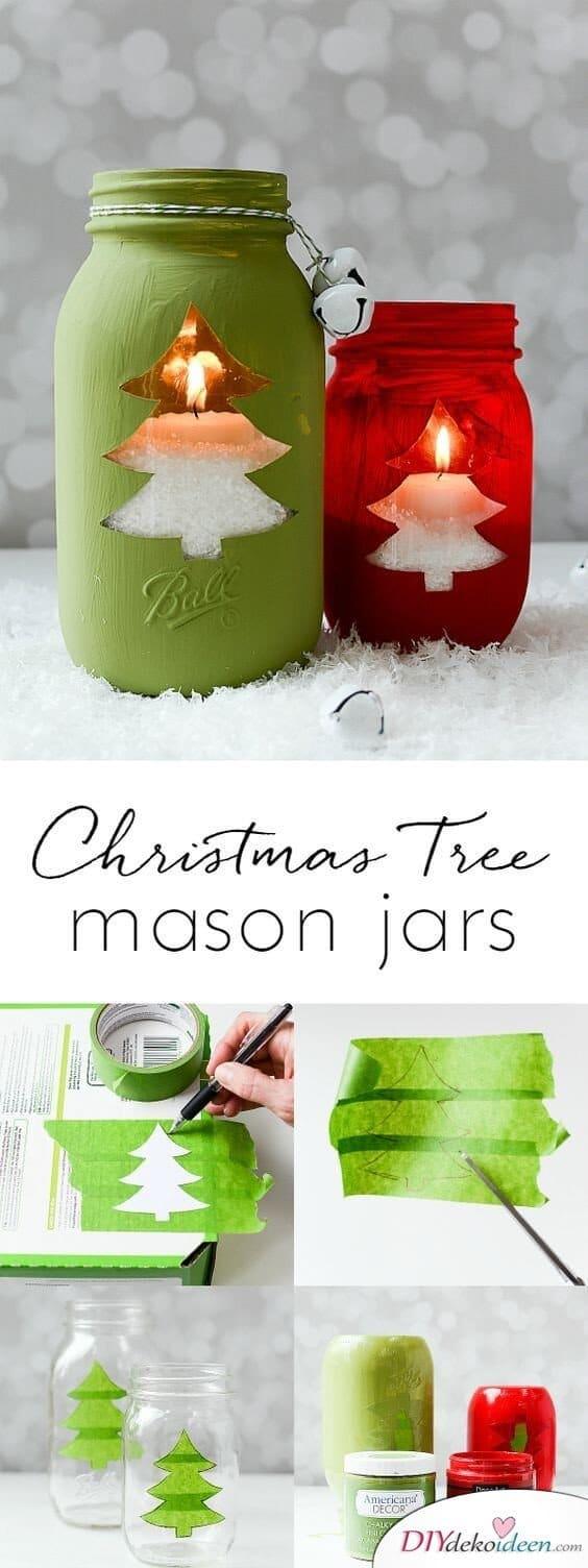 15 einfache Bastelideen für Weihnachten, die Freude bringen - Weihnachten 2017 -Weihnachtsdeko basteln - basteln mit Einmachgläsern - Kerzenglas