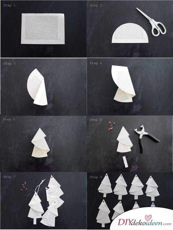 15 einfache Bastelideen für Weihnachten, die Freude bringen - Weihnachten 2017 -Weihnachtsdeko basteln - basteln mit Papier - Papiertanne basteln