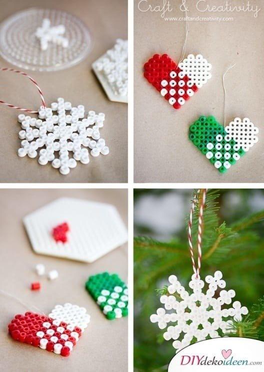 Weihnachtsbasteln mit Kindern - 15 DIY Bastelideen - Weihnachten basteln - basteln mit Bügelperlen