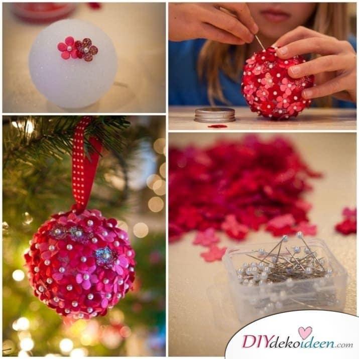 Weihnachtsbasteln mit Kindern - 15 DIY Bastelideen - Weihnachten basteln - Christbaumkugeln basteln