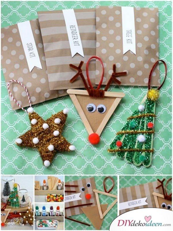 Weihnachtsbasteln mit Kindern - 15 DIY Bastelideen - Weihnachten basteln - Rentier Stern aus Eisstielen