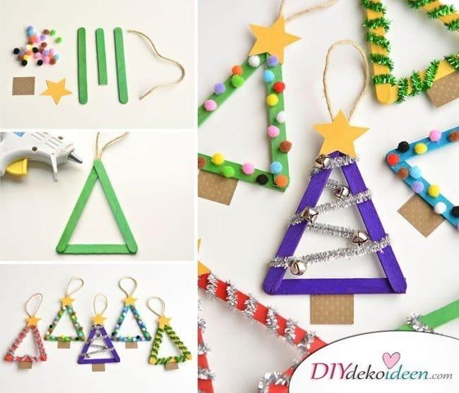 Weihnachtsbasteln mit Kindern - 15 DIY Bastelideen - Weihnachten Bastelidee - Weihnachtsbaum aus Eisstielen