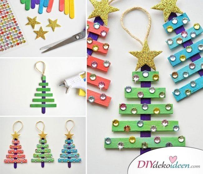 Weihnachtsbasteln mit Kindern - 15 DIY Bastelideen - Weihnachten Bastelideen - Weihnachtsbaum aus Eisstielen