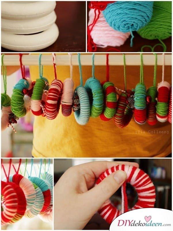 Weihnachtsbasteln mit Kindern - 15 DIY Bastelideen - Weihnachten basteln - basteln mit Wolle