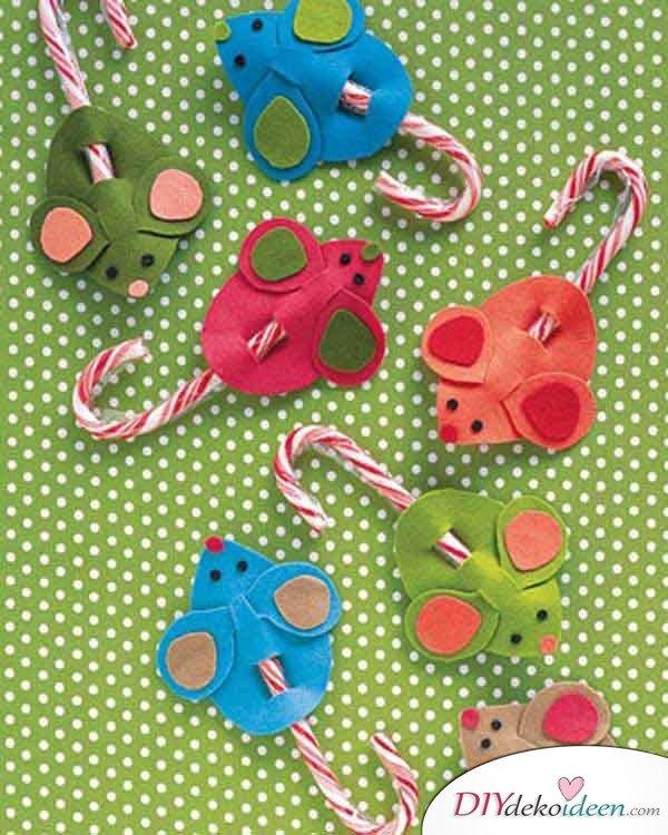 Weihnachtsbasteln mit Kindern - 15+ DIY Bastelideen - Zuckerstangenmäuse - Weihnachten basteln - DIY Bastelideen - Weihnachtsdeko basteln