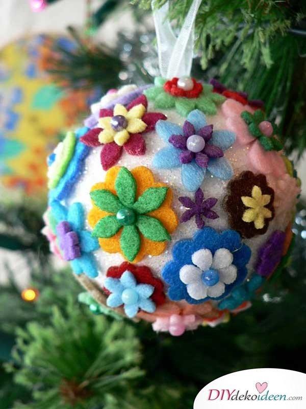 Weihnachtsbasteln mit Kindern - 15+ DIY Bastelideen - basteln mit Filz - DIY Bastelideen - Weihnachtsdeko basteln