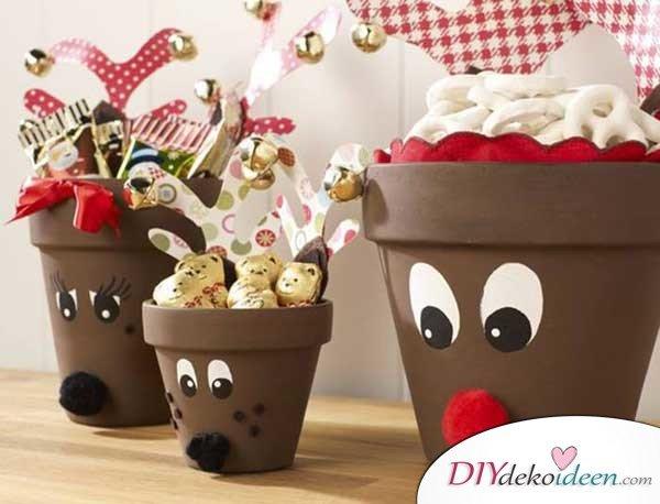 Weihnachtsbasteln mit Kindern - 15+ DIY Bastelideen - basteln mit Tontöpfen - DIY Bastelideen - Weihnachtsdeko basteln