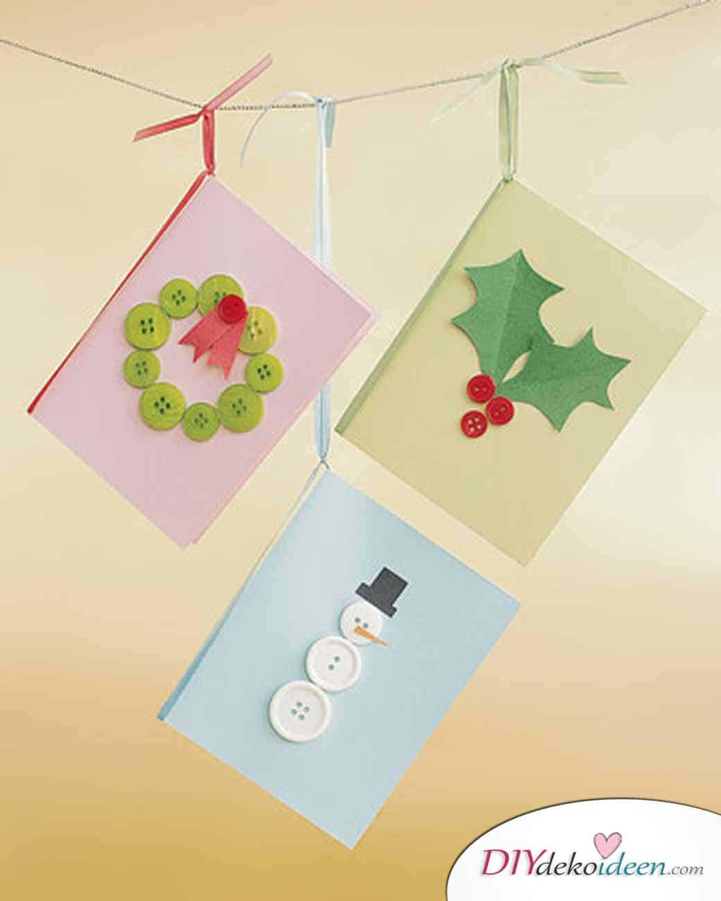 Weihnachtsbasteln mit Kindern - 15 Ideen - basteln mit Kindern - Karten basteln - Weihnachten