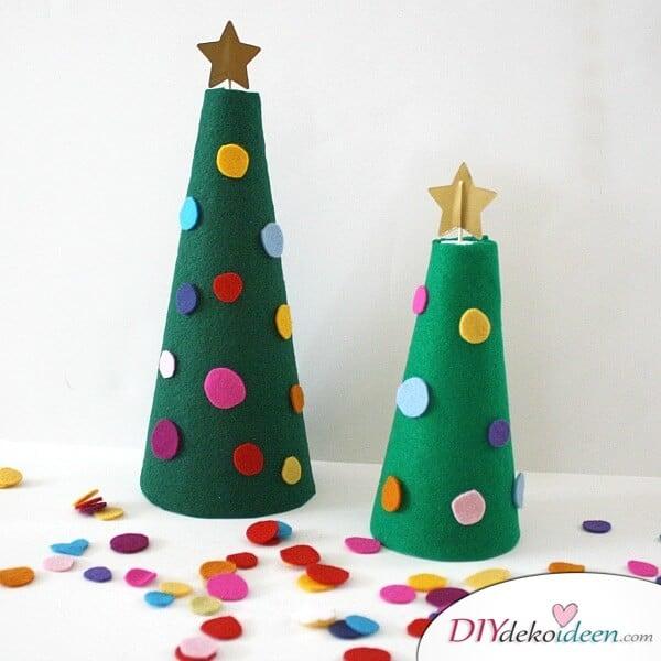 Weihnachtsbasteln mit Kindern - 15 Ideen - basteln mit Kindern - basteln mit Filz - Weihnachten Dekoidee