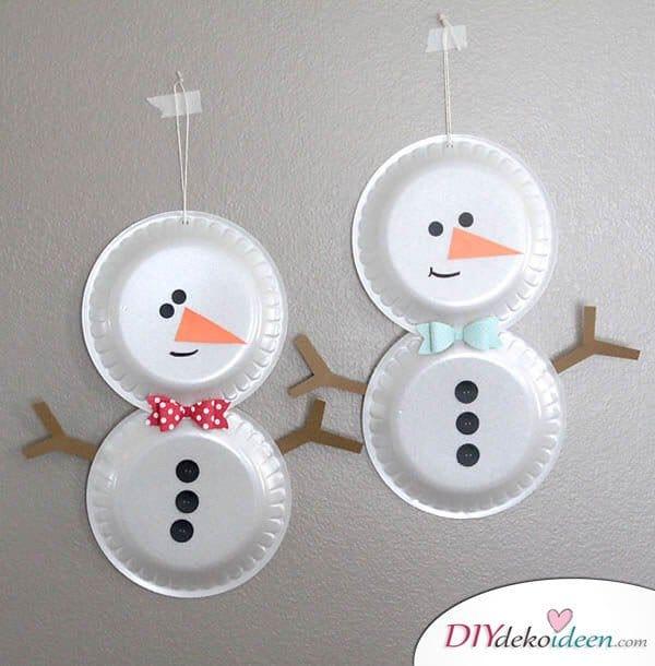 Weihnachtsbasteln mit Kindern - 15 Ideen - basteln mit Kindern - basteln mit Papptellern - Weihnachten Dekoidee